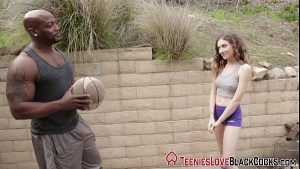 Tiny Blonde Wants To Play Basketball With A Big Black Guy